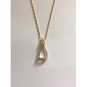 Medium Stirrup Pendant with Diamonds