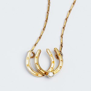 Double Horseshoe Necklace with Diamond