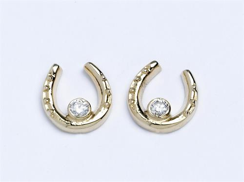 Horseshoe Stud Earrings with Diamonds