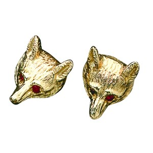 Fox Mask Stud Earrings with Rubies