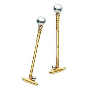 Polo Mallet and Ball Drop Earrings, Medium-Weight