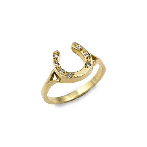 Horseshoe Ring with Light Shank, Set with Diamonds