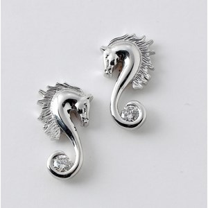 Large Seahorse Earrings with Diamond