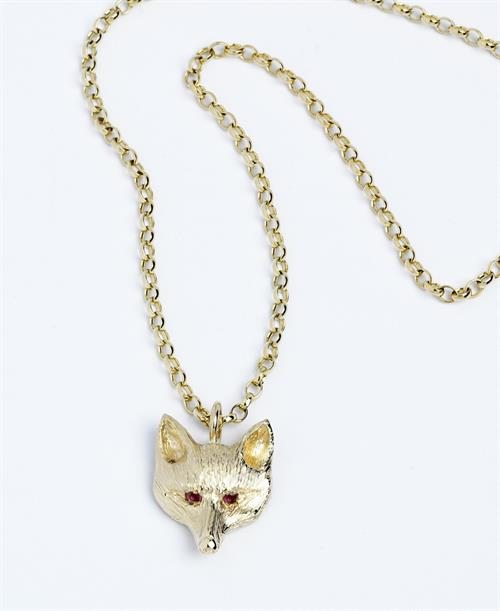 Charlie Fox Pendant with Ruby Eyes